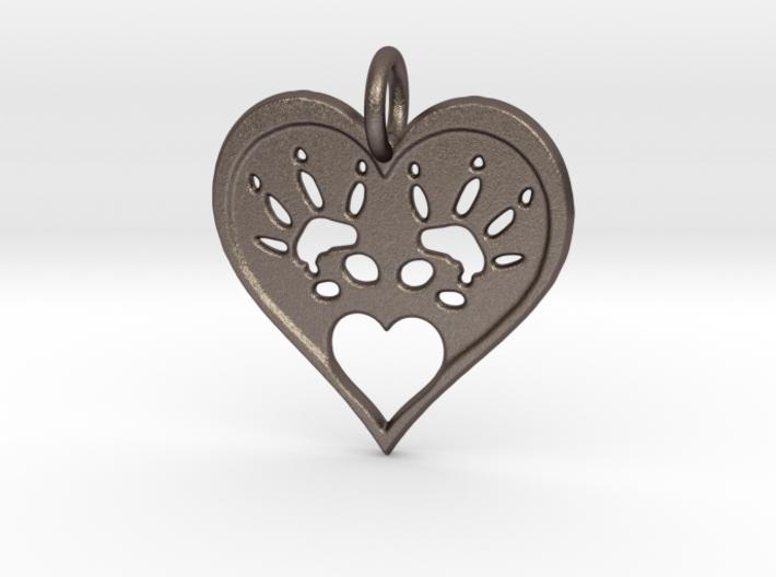 Rat Foot Print Heart Pendant 3d printed