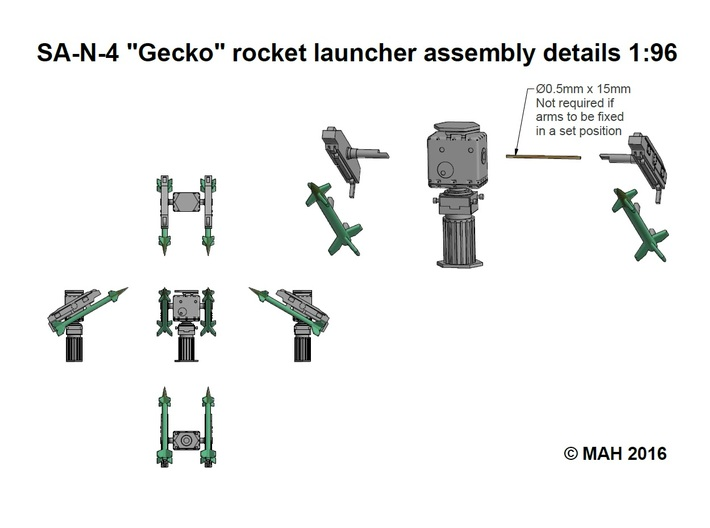 SA N 4 Gecko rockets and Launchers x 2 1/96 3d printed