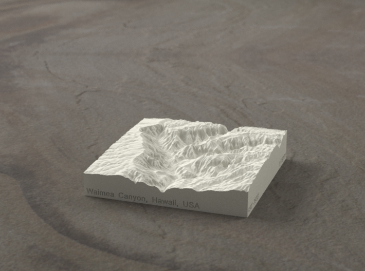 3'' Waimea Canyon, Hawaii, USA, Sandstone 3d printed Radiance rendering of model, viewed from the South