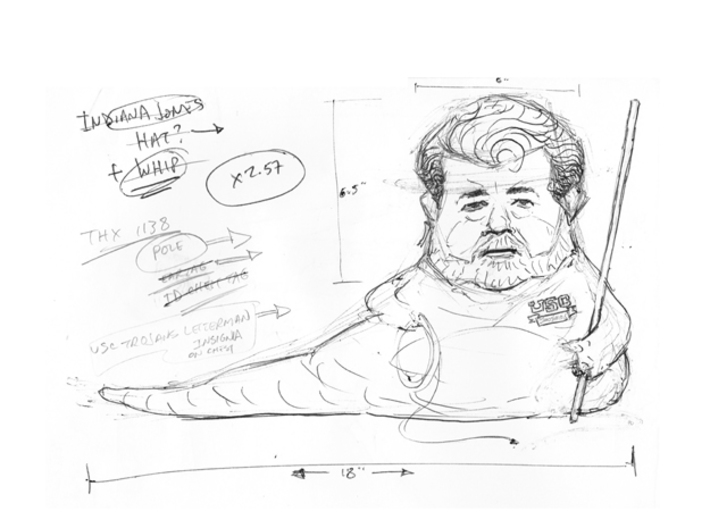 Lucas the Hutt, 2nd Edition (color) 3d printed This is my preliminary sketch I used to design my sculpture.