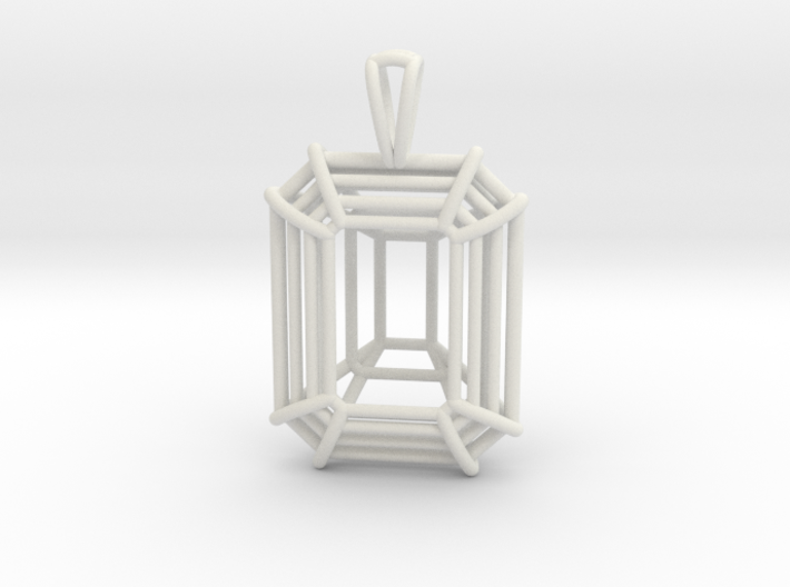3D Printed Diamond Emerald Cut Pendant Large 3d printed