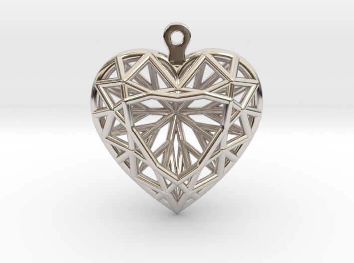 3D Printed Diamond Heart Cut Earrings 3d printed