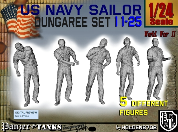 1-24 US Navy Dungaree Set 11-25 3d printed