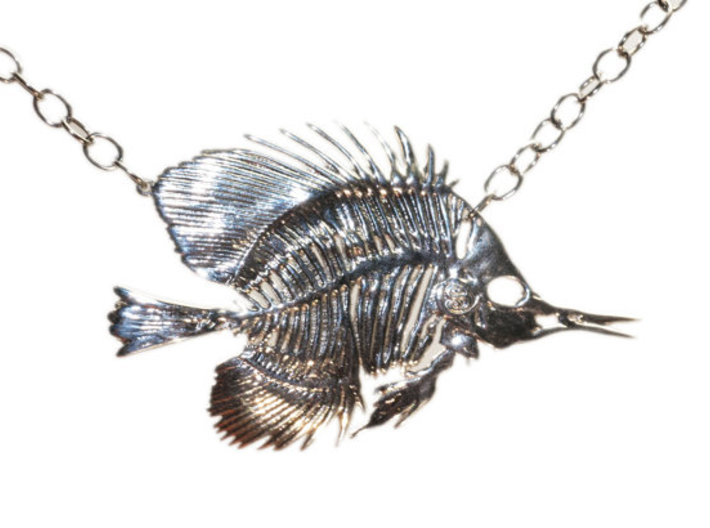 Butterfly Fish Skeleton Pendant 3d printed