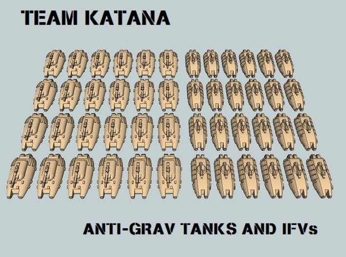 """Team Katana"" 3mm Anti-Grav Tanks & IFVs (48 pcs) 3d printed"