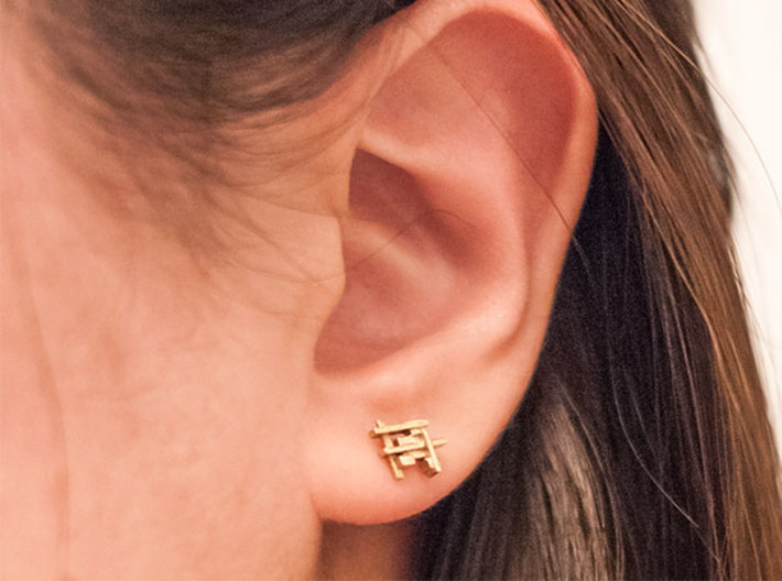Squares and Bars Earring 3d printed