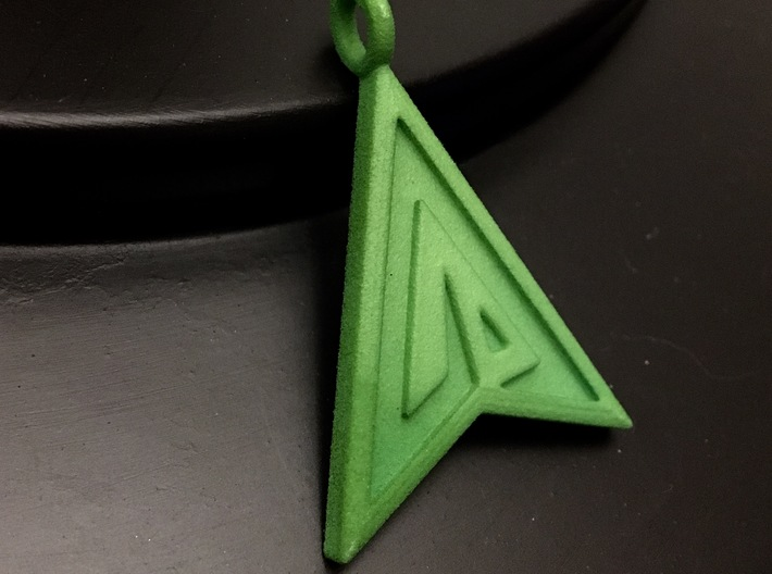 Green Arrow Keychain 3d printed Green Strong and Flexible Polished