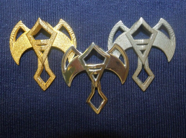 Winged Jewel 3d printed Gold plated steel: Silver: Steel