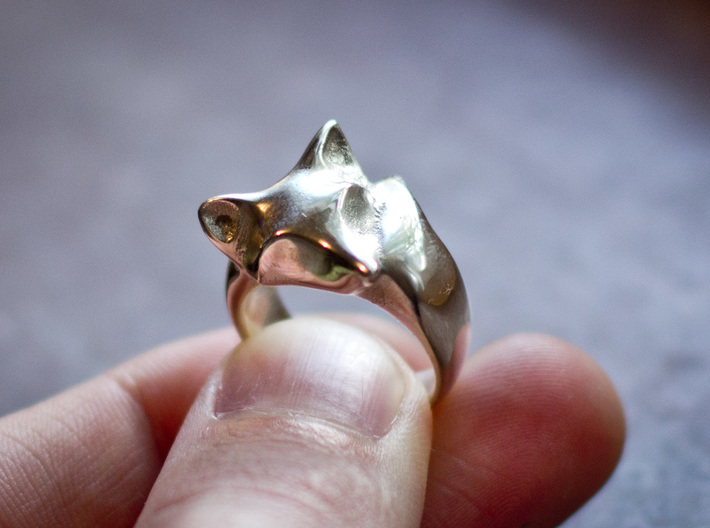 Fox Ring 3d printed Polished Silver