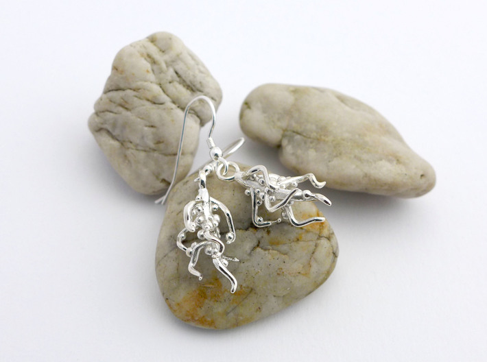 Nodulated Root Earrings  3d printed Nodulated earrings in polished silver