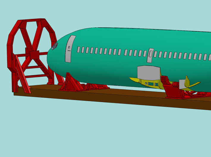 1/87 Boeing Fuselage Cradles for flatcar 3d printed CAD render showing the cradles supporting a fuselage.