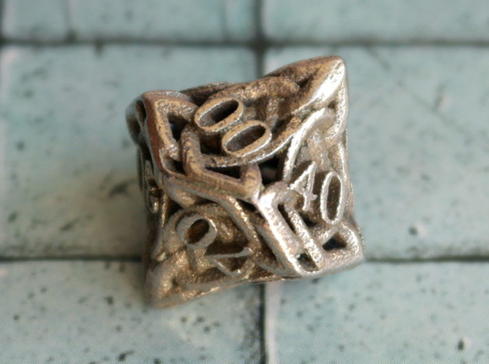 Celtic Percentile D10 3d printed Printed in Stainless Steel