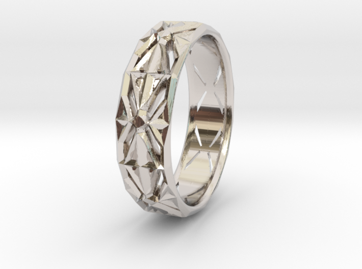 Cut Facets Ring Sz. 4.5 3d printed