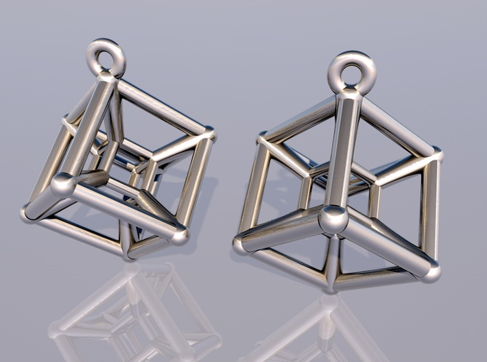 Tesseract Earrings 3d printed render