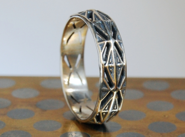 Cut Facets Ring Sz. 8 3d printed polished silver with liver of sulfur patina