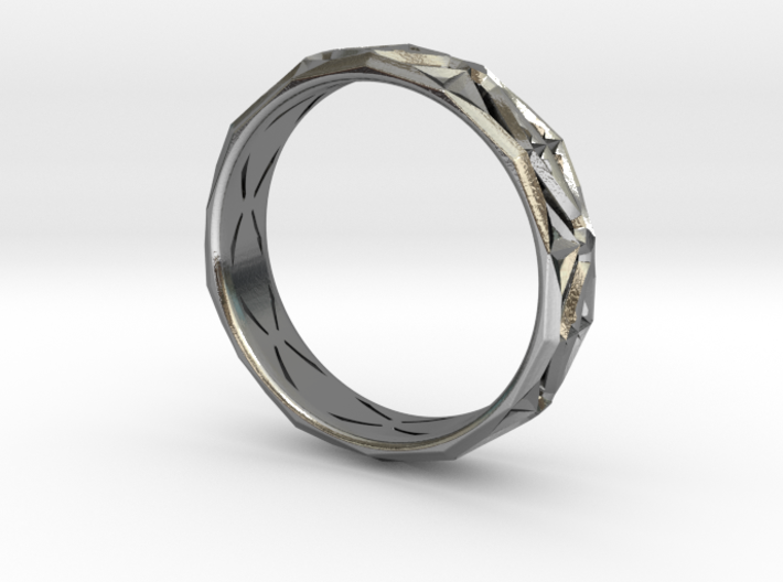 Cut Facets Ring Sz. 8 3d printed