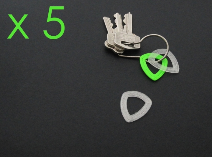 Hollow Plectrum, pack of 5! 3d printed Samples printed on a Printrbot, not by Shapeways