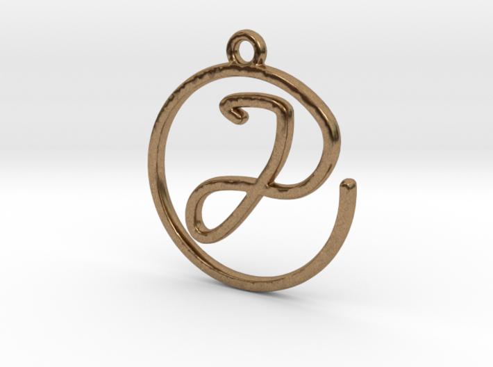 J Script Monogram Pendant 3d printed