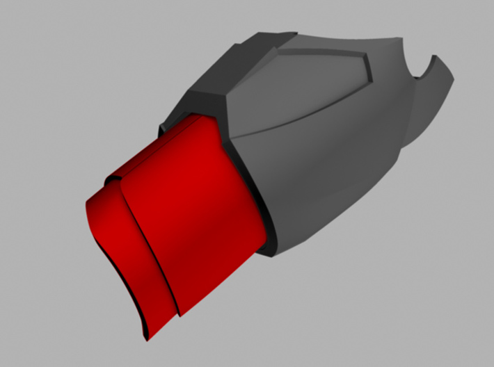 Iron Man Mark IV/VI Wrist Armor 3d printed What's highlighted in red will be printed.  Goes with upper forearm armor.