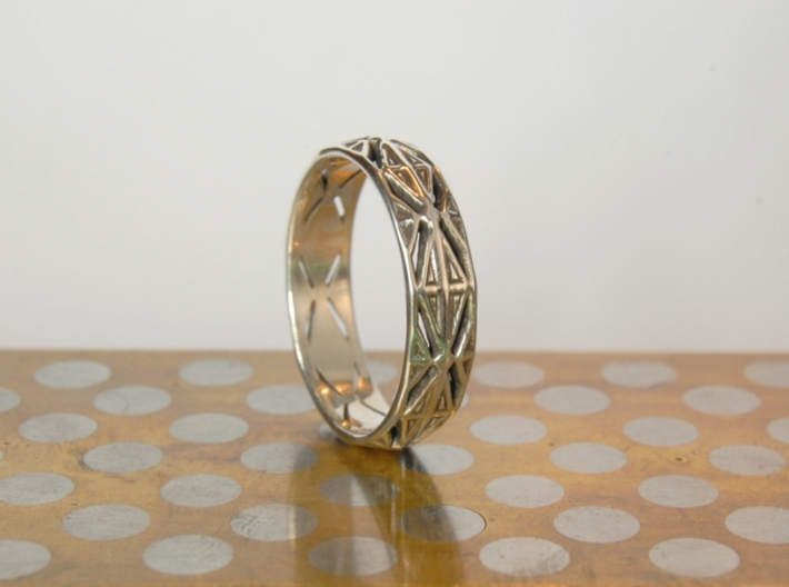 Cut Facets Ring Sz. 11 3d printed polished silver
