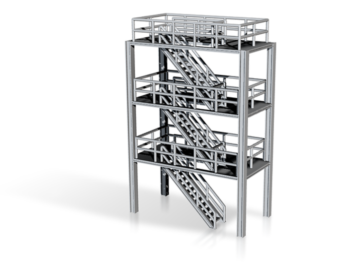 N Scale 3x Refinery Stairs (modular) 3d printed picture of 3 units assembled