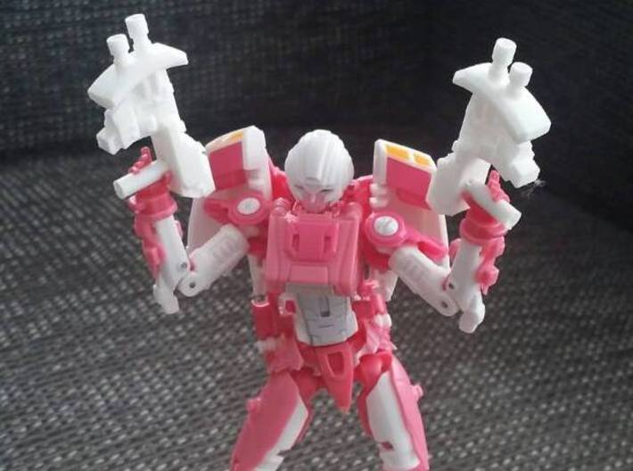"""MICRON"" Transformers Weapons Set (5mm post) 3d printed Image by Remko. Weapon post modded to fit with MMC Azalea."