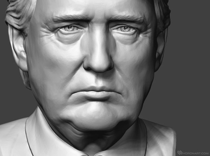 Donald Trump. Portrait bust 3d printed A gray picture shows sculpture details, how an actual 3d print will look depends on the selected material