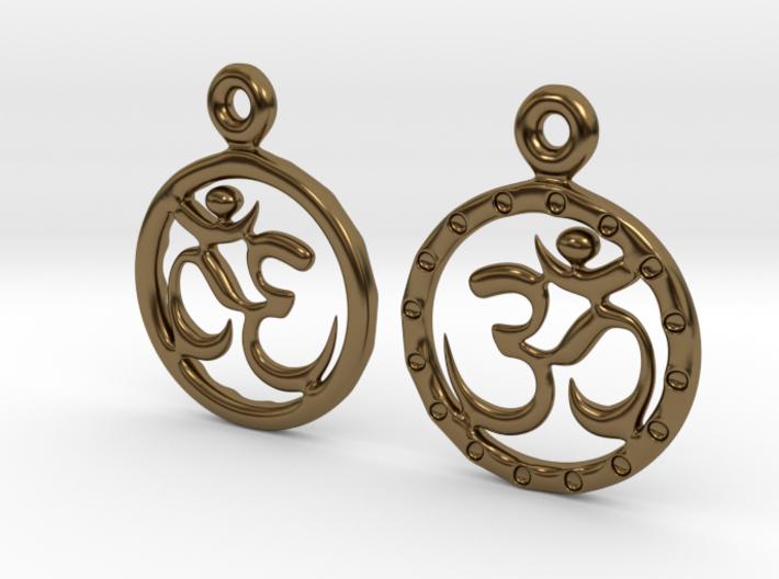 Om EarRings - Pair - Metal 3d printed