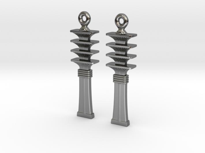 Djed EarRings - Pair - Precious Metal 3d printed