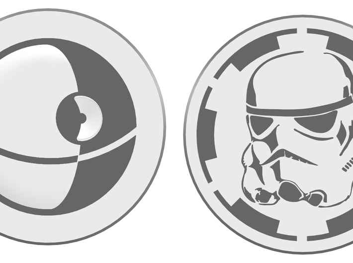 Trooper Challenge coin 3d printed front and back