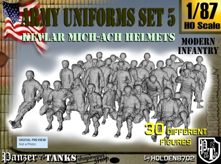 1-87 Army Modern Uniforms Set5 3d printed