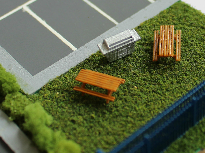 N Scale 6x Picnic Bench 3d printed 2 benches and a barbecue