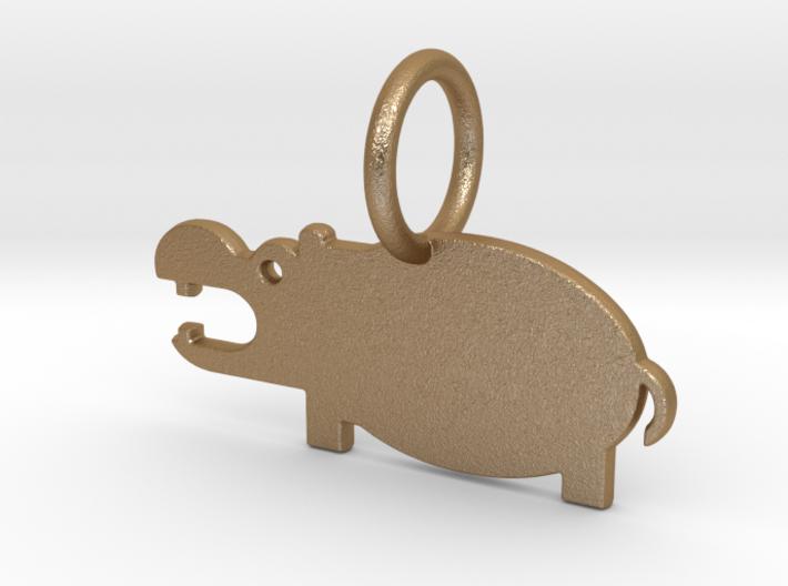 Hippopotamus Keychain 3d printed Hippopotamus Keychain (different materials have different prices)