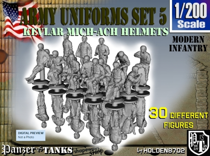 1-200 Army Modern Uniforms Set5 3d printed