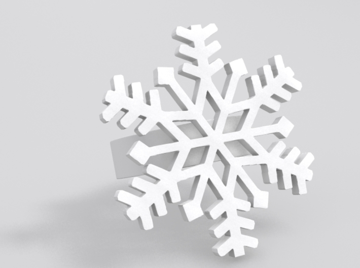 Snowflake Ring Size 7 3d printed Sample render in White