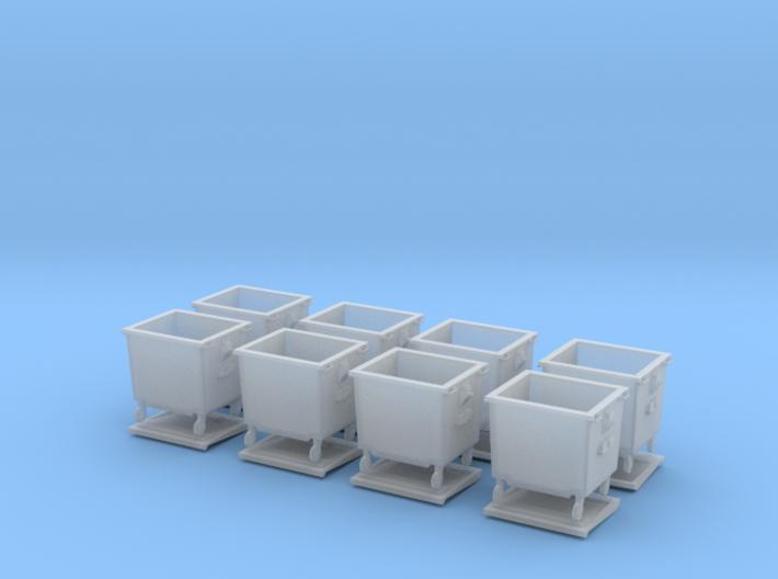 H0 Rubbish bins set ( 8 pcs ) 1:87 scale  3d printed