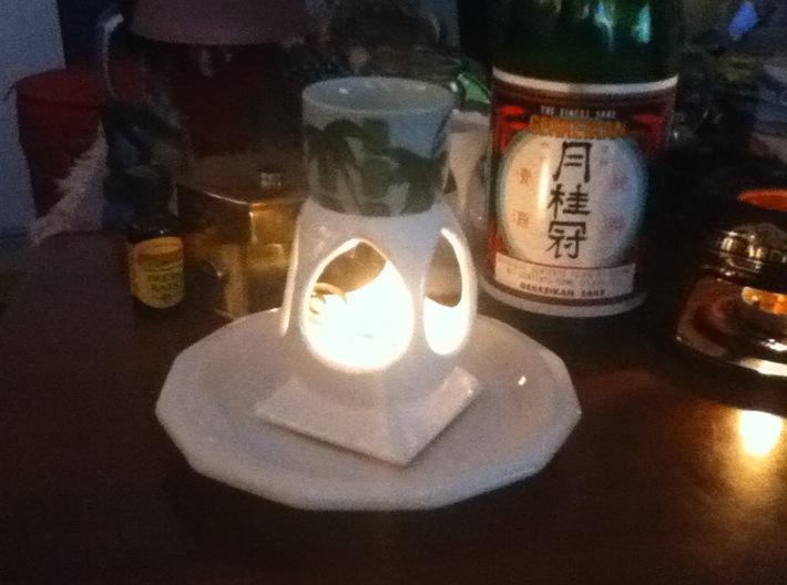 """Mystic Altar Oil Lamp """"Phi"""" 3d printed Phi heats Japanese sake too!"""
