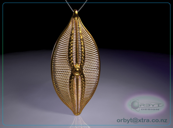 Navicula bullata Pendant ~ 46mm tall (1.8 inches) 3d printed Raytraced render of Navicula bulatta 46mm pendant simulating polished brass material