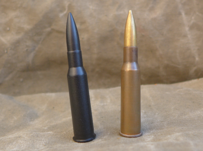 7.62x54 R 3d printed In comparison with real round.