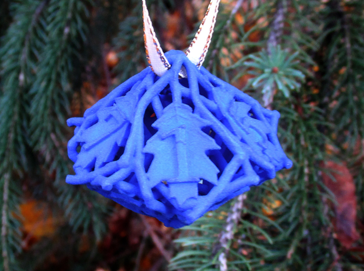 Botanical Die10 Ornament 3d printed In Royal Blue Strong & Flexible Polished