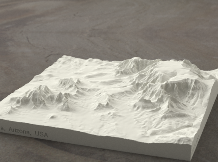 6'' Sedona, Arizona, USA, Sandstone 3d printed Radiance rendering of model, viewed from SSE