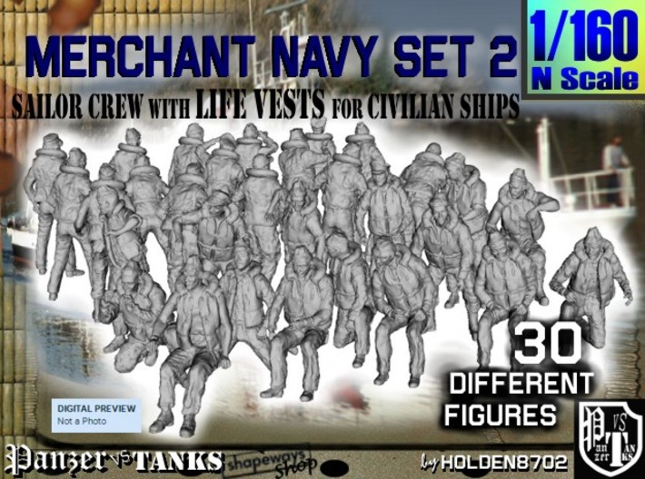 1/160 Merchant Navy Crew Set 2 3d printed