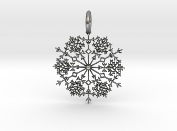 Winter Snowflake Pendant 3d printed Silver Winter Snowflake Pendant