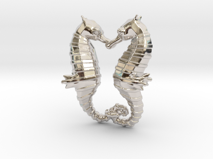 'Hippocampus Love' (Seahorse) LOVE Pendant, Charm 3d printed
