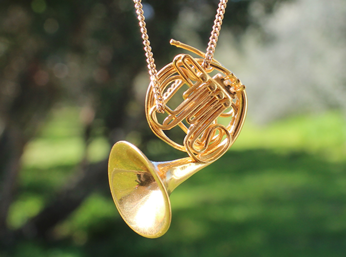 French Horn Pendant 3d printed