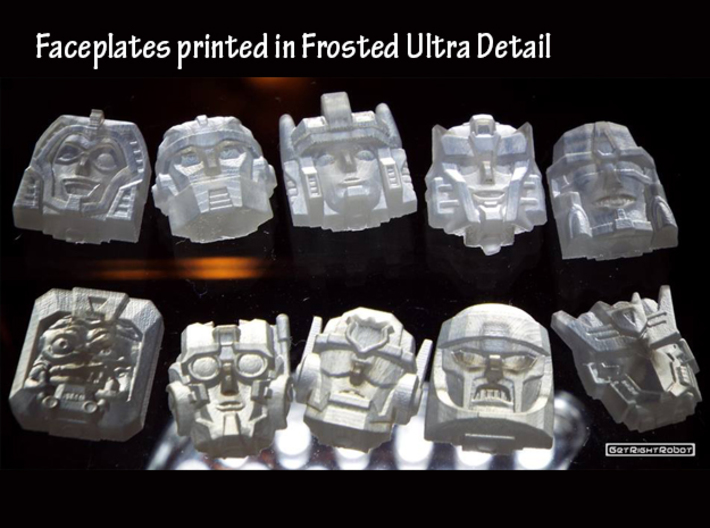 Gobots Crasher Face (Titans Return) 3d printed Frosted ultra detail, Crasher is in the top left corner