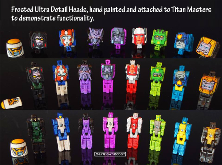 Graduate Chase Faceplate (Titans Return) 3d printed Faceplates attached to Titan Masters to demonstrate functionality, 2nd from left