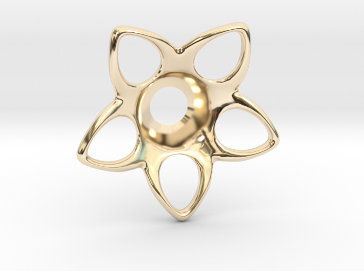 Star-Burst - Rosette Jacket Collar 3d printed Gold Plated