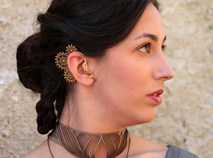 Steampunk Gears Ear Cuff Clockwork 3d printed