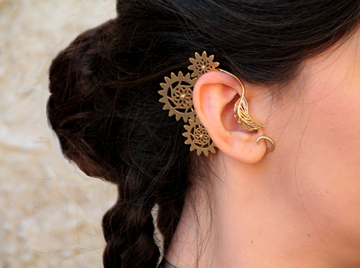 Steampunk Gears Ear Cuff Clockwork 3d printed Raw Brass